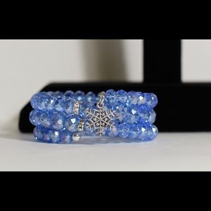 Jewelry - Blue Crystal Bead Bracelet with Snowflake